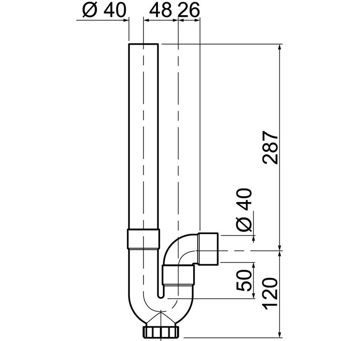 Siphon simple crosse sortie horizontale pour machine - Siphon machine a laver ...
