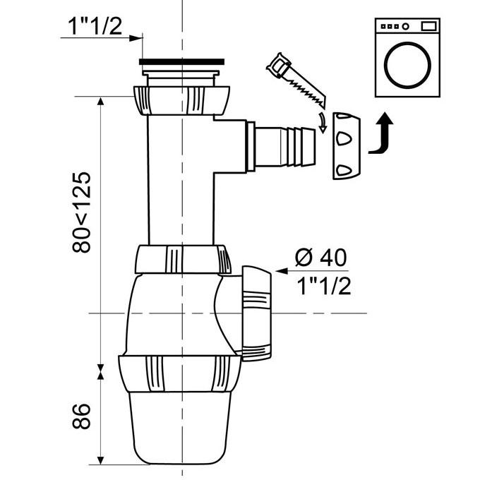siphon d 39 vier r glable avec prise machine laver eviers siphons wirquin. Black Bedroom Furniture Sets. Home Design Ideas