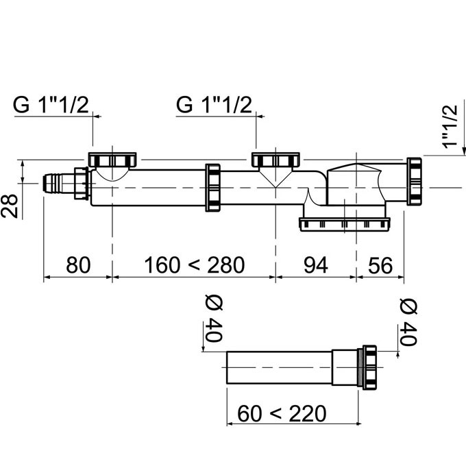 espace tubulure de raccordement avec siphon extra plat int gr et rallonge pour vier 2 bacs. Black Bedroom Furniture Sets. Home Design Ideas