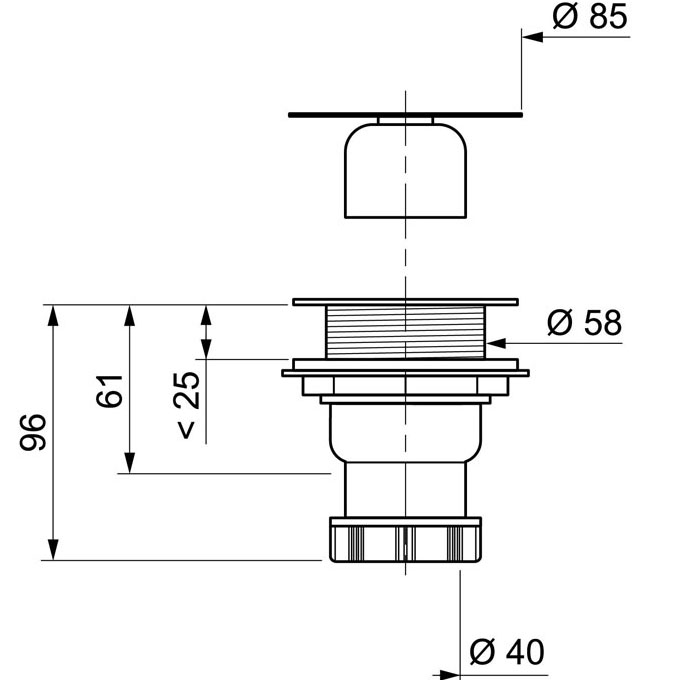 Bonde de douche pour receveur 60 mm sortie verticale for Bonde de douche a l italienne