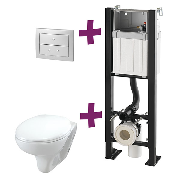 Smart rock pack complet wc suspendu autoportant sur - Pack toilette suspendu ...